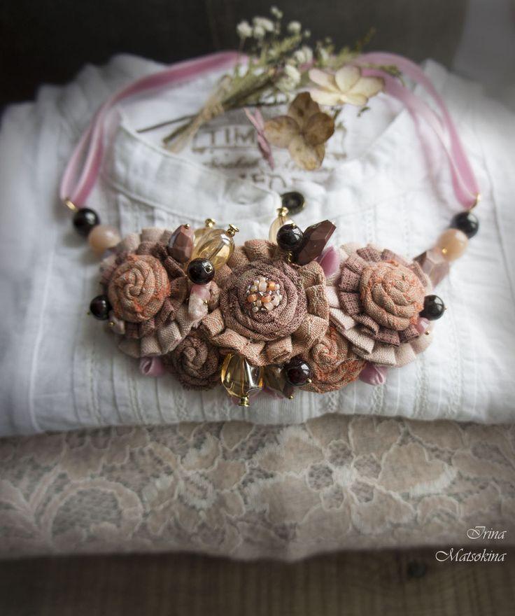 Купить Колье Бархат Чайной Розы - кремовый, розовый, чайная роза, колье