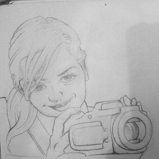 """""""Camera girl"""" pencil sketch"""