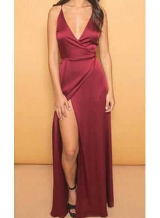 USD$129.00 - Sexy V-neck A-line Spaghetti Strap Prom Dress 2016 Front Split - www.27dress.com