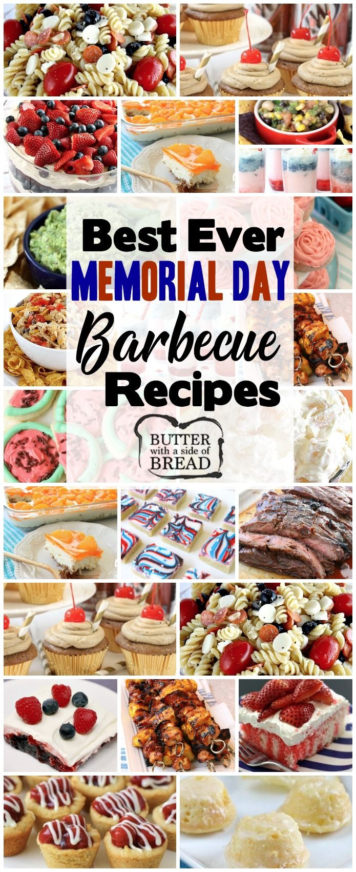 Best Memorial Day BBQ Recipes that will feed a crowd! Celebrate Memorial Day this year with fun, easy and patriotic recipes the whole family will enjoy. #food #recipe #MemorialDay #bbq #grill #dessert #patriotic