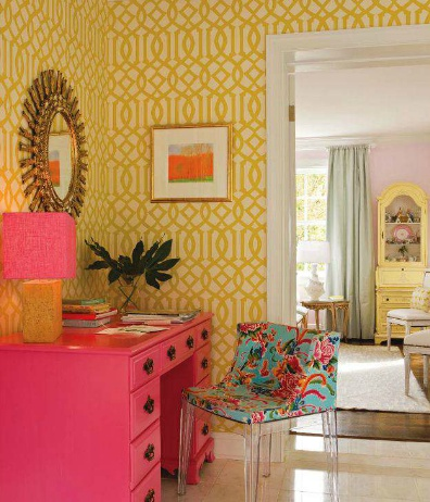 bright.Decor, Bright Pink, Offices Spaces, Girls Room, Hot Pink, House, Pink Desks, Bright Colors, Home Offices
