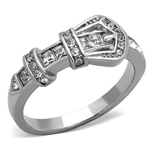 Swavorski Elements Crystal Belt Buckle Stainless Steel Ring