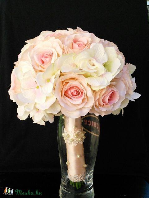 Hortenzia-rózsa csokor, Esküvő, Esküvői csokor, Meska