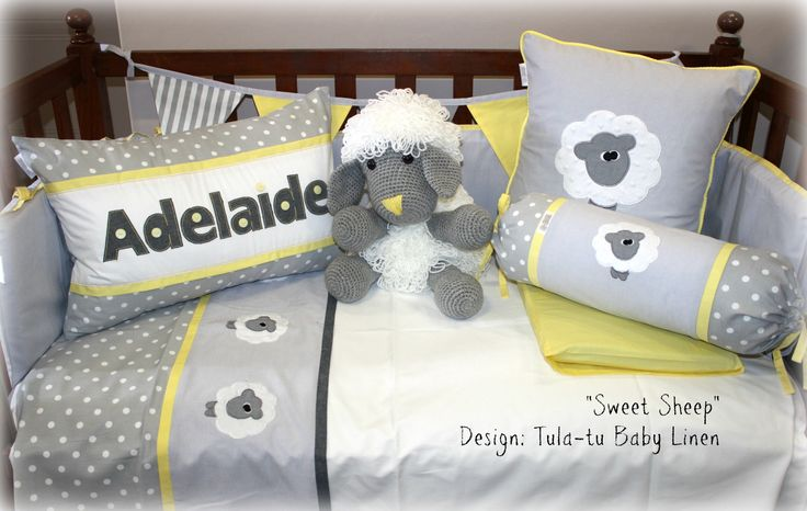 """Sweet Sheep"" nursery linen in shades of grey, yellow and white. Linen are made to order by Tula-tu Baby Linen. View more designs on our website: www.tulatu.co.za"