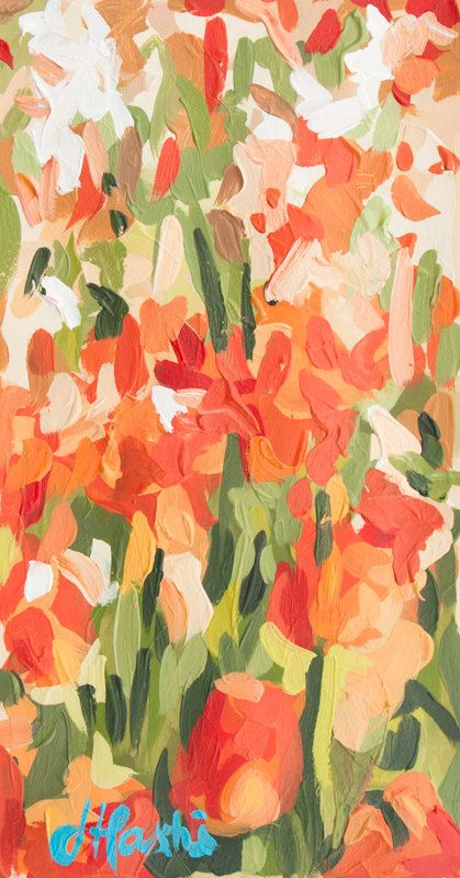 Tulips II 5.5 x 10.5 Original Acrylic Painting by JoanneHastie, $240.00