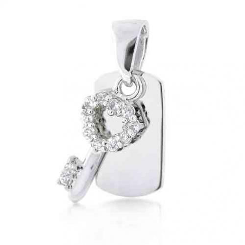 Bling Jewelry CZ Sterling Silver Dog Tag and Key Pendant