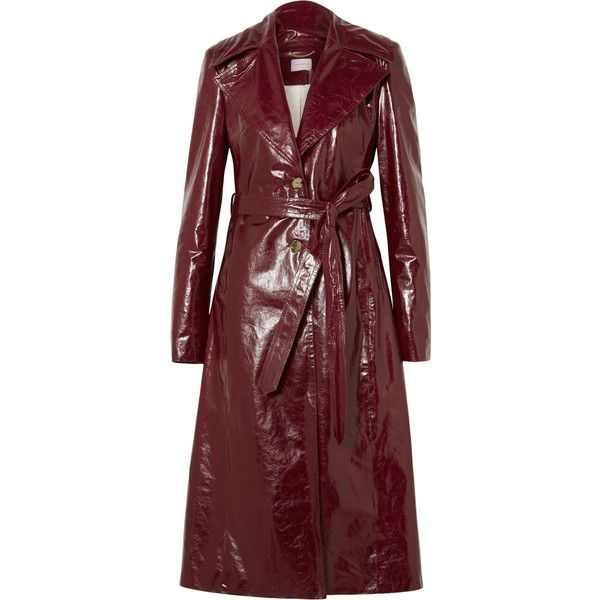 Magda Butrym Indiana patent textured-leather trench coat (14,485 AED) ❤ liked on Polyvore featuring outerwear, coats, burgundy, red trenchcoat, tie belt, vintage style coats, red trench coats and red coat