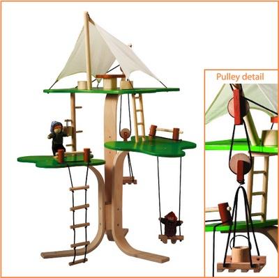 Plan toys wooden tree house hazelnut kids toys pinterest for Kids wooden treehouse
