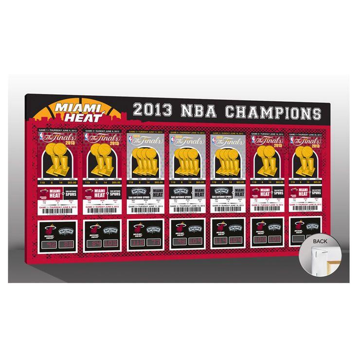 Miami Heat 2013 NBA Finals Champions Tickets to History Commemorative Framed Canvas Print - $79.99