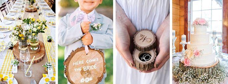 Weddings Factory - Blog ślubny, inspiracje, motywy przewodnie, stylizacje ślubne, organizacja wesela: Jak wykorzystać plastry drewna na weselu?
