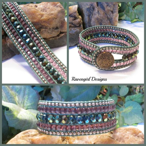 OCEAN JEWELS Beaded 5 Row Czech Glass Leather by RavengirlDesign