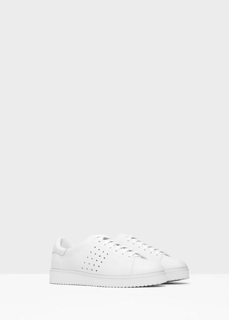 Αθλητικά παπούτσια δέρμα διάτρητο σχέδιο - Παπούτσια for Γυναίκα | MANGO ΜΑΝΓΚΟ Ελλάδα