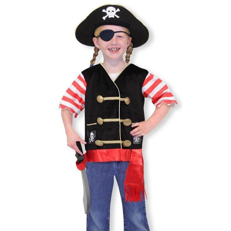 http://giocojuguetes.com/disfraces/1582-melissa-doug-disfraz-de-pirata-14848.html  Melissa & Doug - Disfraz de Pirata (14848) Referencia  MD14848 Contenido: Sombrero de pirata, chaleco bordado de pirata con cinto y portaespada, parche para el ojo y espada blanda. Chaleco y faja 100% poliéster, mangas100% algodón excluyendo el adorno. Talla: 3 a 6
