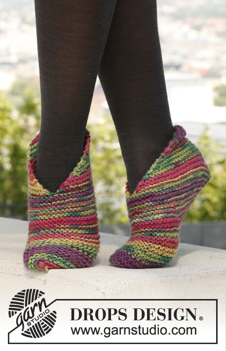 "Splash - Knitted DROPS slippers with 1 thread ""Big Fabel"" og 2 threads ""Fabel"". - Free pattern by DROPS Design"