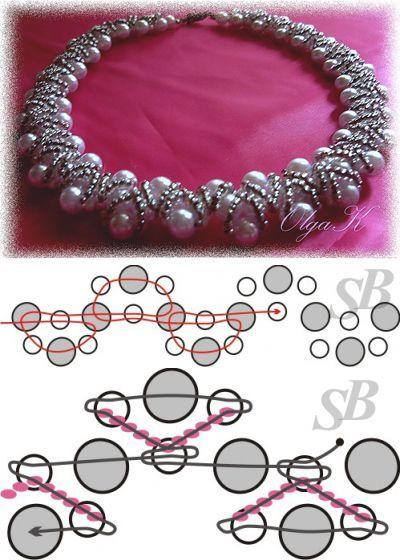 Схема колье 'К Юбилею'. | Салон Эксклюзивного Бисера beading patterns free