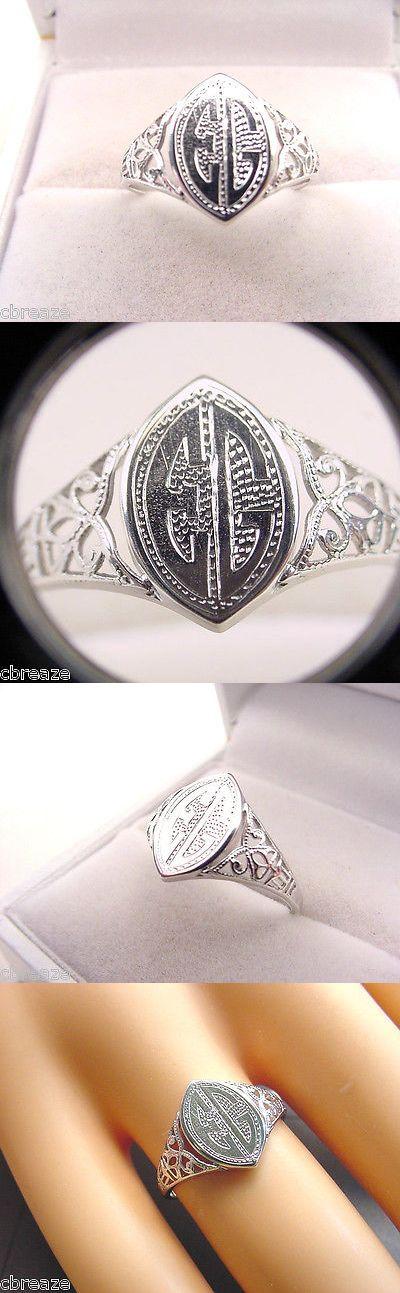 Rings 165014: Art Deco 1930S Signet Rare Allsopp And Long 10K White Gold Ring Size 5 3/4 BUY IT NOW ONLY: $245.0