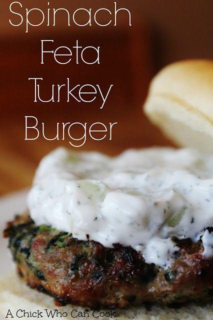 Spinach Feta Turkey Burger with Greek Tzatziki Sauce