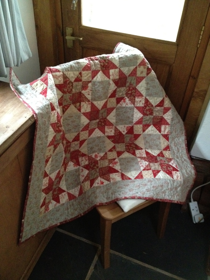 Lap quilt made from half a French General Rouenneries Jelly Roll. Pattern from Pam and Nicky Lintott.