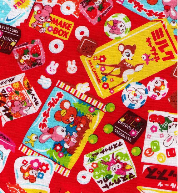 HALF YARD - Japanese Candies Chocolates and Sweets on Red - Cosmo Textile - Japanese Import Fabric