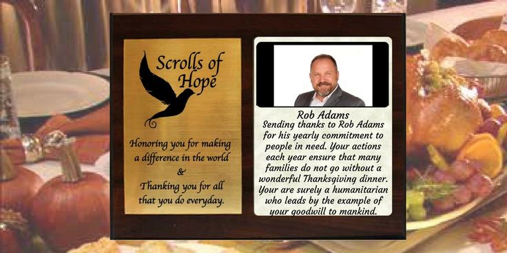 """Sending a Plaque of #Appreciation to Rob Adam for helping so many families enjoy Thanksgiving Send us your #heroes Not just a """"Message in a Bottle' It's all about 'Connection'"""