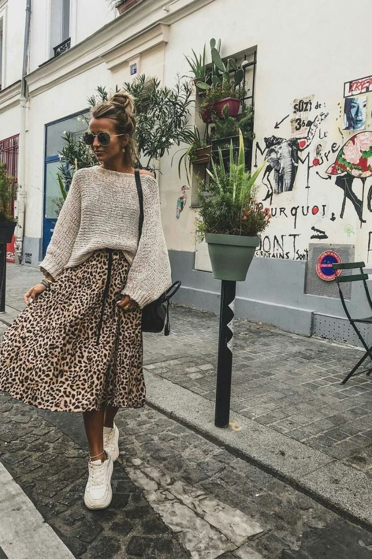 Vintage leopard print pleated skirts – Top Maxy – Look inverno