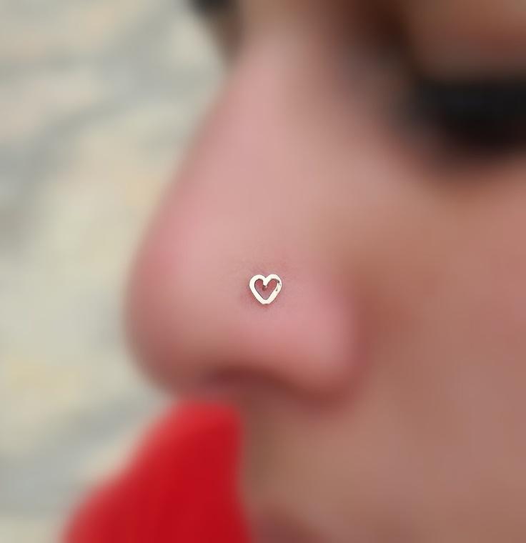 Valentine Heart Nose Ring Stud 14K Solid Rose Gold ...