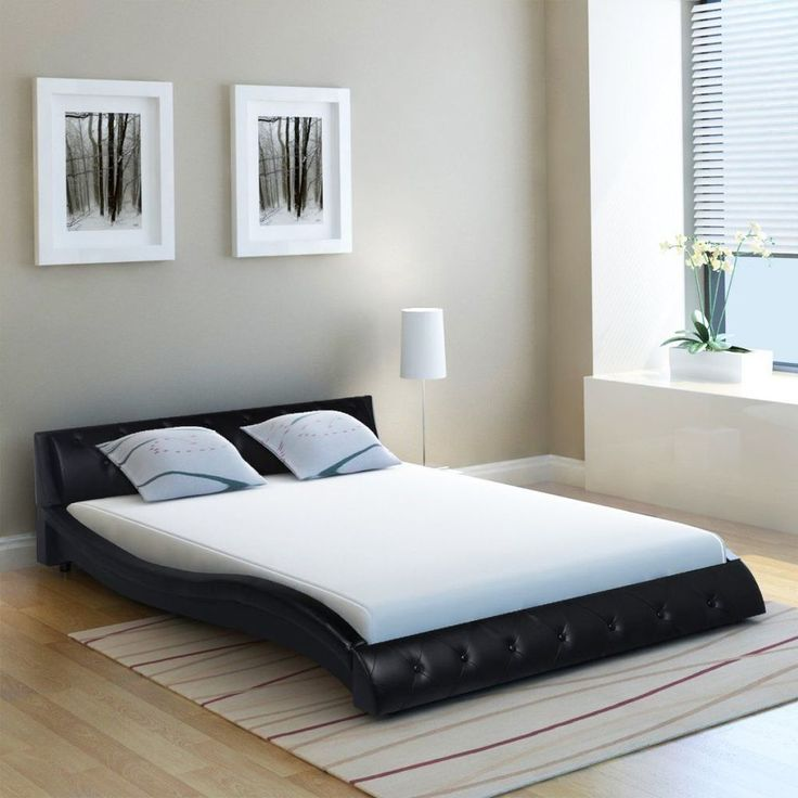 4ft6 Double Bed Frame with Slats Luxury Bedroom Furniture Black Faux Leather Bed