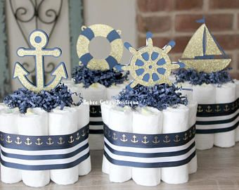 Set of 4 Mini Navy and Gold Nautical Diaper Cakes, Navy Stripe, Gold Anchor, Boy Diaper Cake, Nautical Baby Shower, Navy Gold Centerpieces