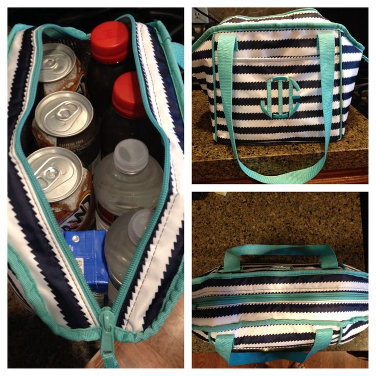 Thirty one navy wave lunch break thermal holds 2 water bottles, 2 teas, 2 juice boxes and 6 mini soda cans!