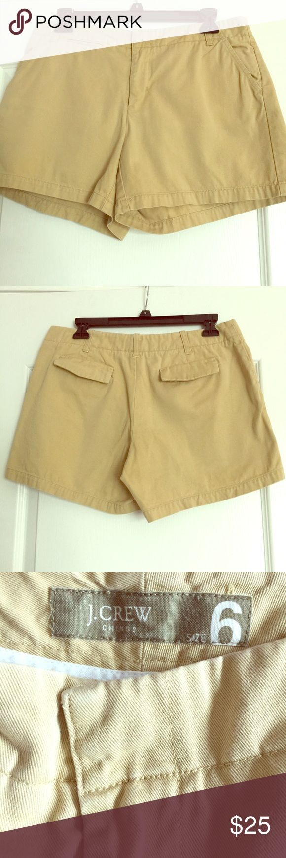 J. Crew Women's  Khaki Shorts J.Crew Chinos Collection. Khaki height is 13 inches. Material is 100% cotton. J. Crew Shorts