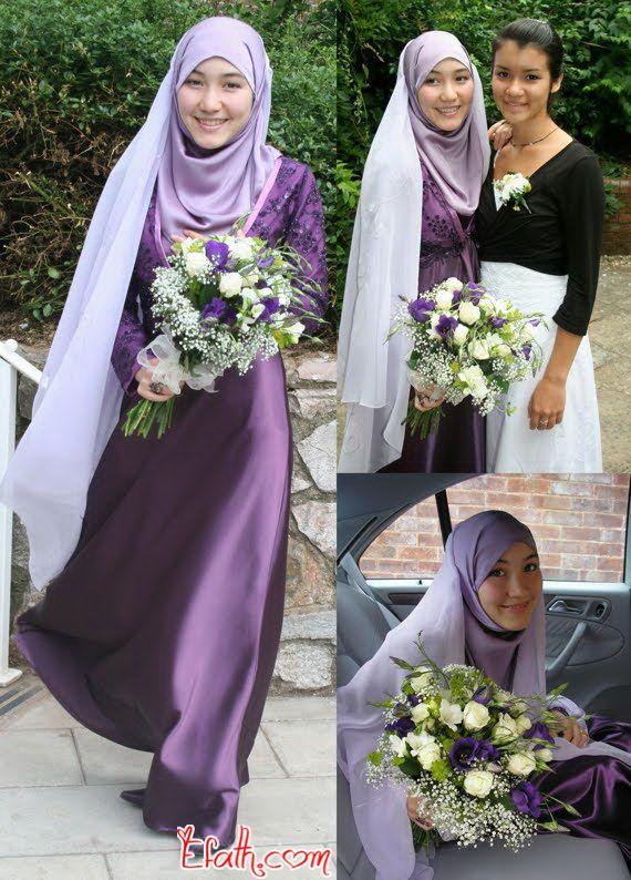 Stylish Purple Wedding Dresses for Muslim Brides