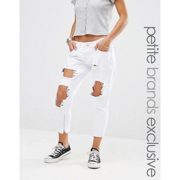 Liquor & Poker Petite Skinny Jeans With Extreme Distressing Ripped... ($32) ❤ liked on Polyvore featuring jeans, petite, white, distressed jeans, white ripped skinny jeans, white distressed skinny jeans, white denim skinny jeans and super skinny jeans