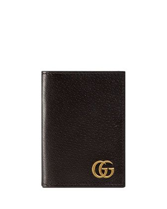 GG Marmont Leather Fold-Over Card Case by Gucci at Neiman Marcus.