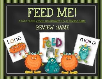 FEED ME is a slap jack type game that concentrates on increasing students fluency with targeted phonics concepts. ( It could also be used as a concentration game if  desired)  This game concentrates focuses on:Silent e words (vce)This game is fast paced and is a perfect way to wrap up small group time.This can be played during word work, intervention group, guided reading group, etc.