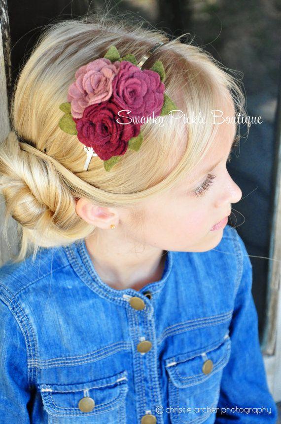 Fieltro flor diadema diadema de rosa rosa por SwankyPickleBoutique