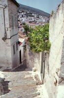 Blick auf Hydra Stadt, 1989 RalphH/Timeline Images #Gasse #Ausblick #Aussicht #Sommer #Griechenland #Sonne #80er