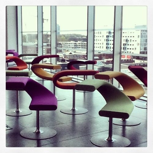 chairs at the  Malmö University Library in Sweden.
