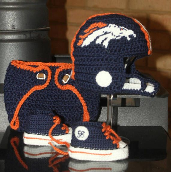 Denver Broncos baby Football hat shoes and Diaper Cover//