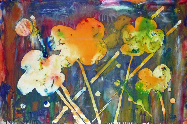 Cat among the Flowers. Fun abstract piece. Can you see the cheeky cat hiding among the flowers?