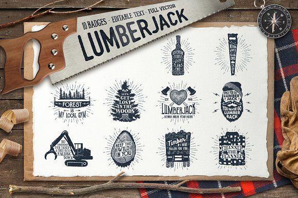 Lumberjack. Vintage Badges (part 2) by Cosmic Store on @creativemarket