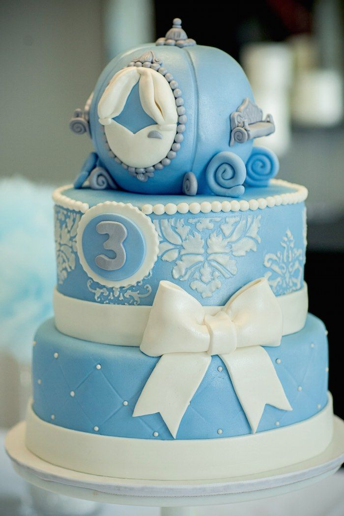 Three-Tiered Blue Cinderella Birthday Cake