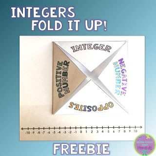 Integers Fold it Up - free on the blog~Middle School Math Moments