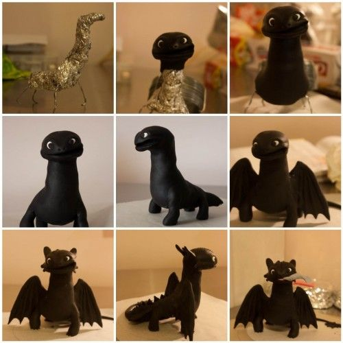 The making of the Toothless cake figure from the How To Train Your Dragon cake