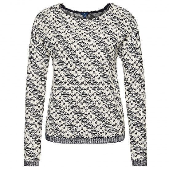 Pullover aus Strick-Mix mit Muster für Frauen (zweifarbig, langärmlig mit weitem Rundhalsausschnitt) - TOM TAILOR