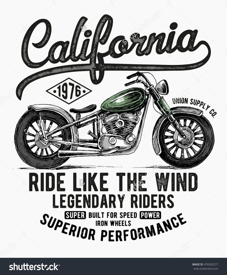 California motorcycle typography, t-shirt graphics, vectors.