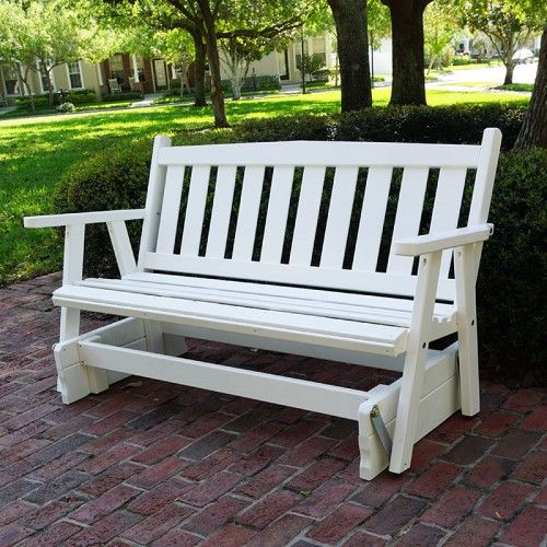 Porchgate Amish Made Mission 3 Seater White Porch Glider