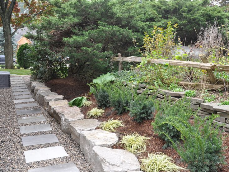 Small back yard landscape designhard scape pathways for Rock stepping stones landscaping