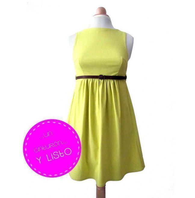 Tutorial paso a paso sobre como hacer un vestido de cintura alta en color amarillo fluor modificando el patrón 133 de la revista burda de 08/2012