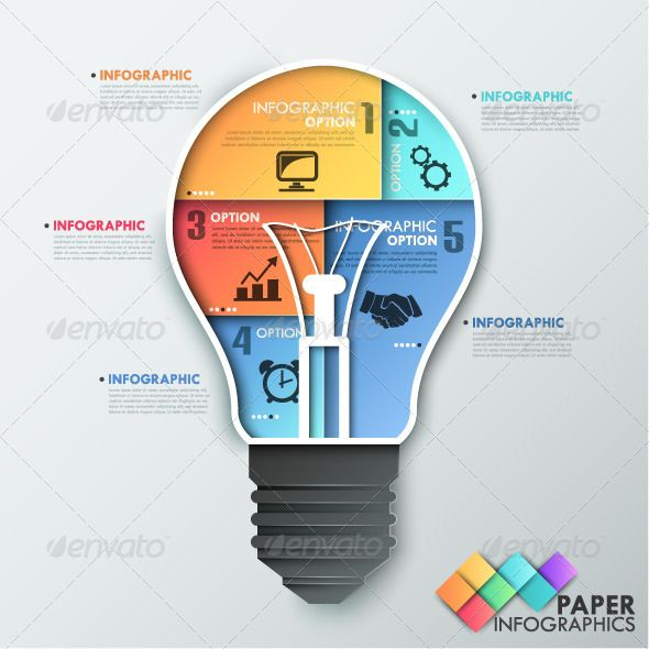 Paper Infographic Template With Light Bulb #design Download: http://graphicriver.net/item/paper-infographic-template-with-light-bulb/7999369?ref=ksioks