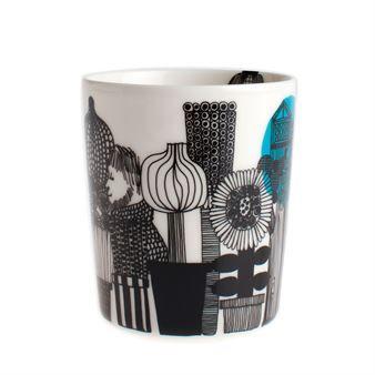 Marimekko Siirtolapuutarha kopp uten hank 2,5 dl svart-blå